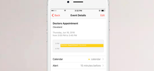 Patient appointment scheduling on an iphone.