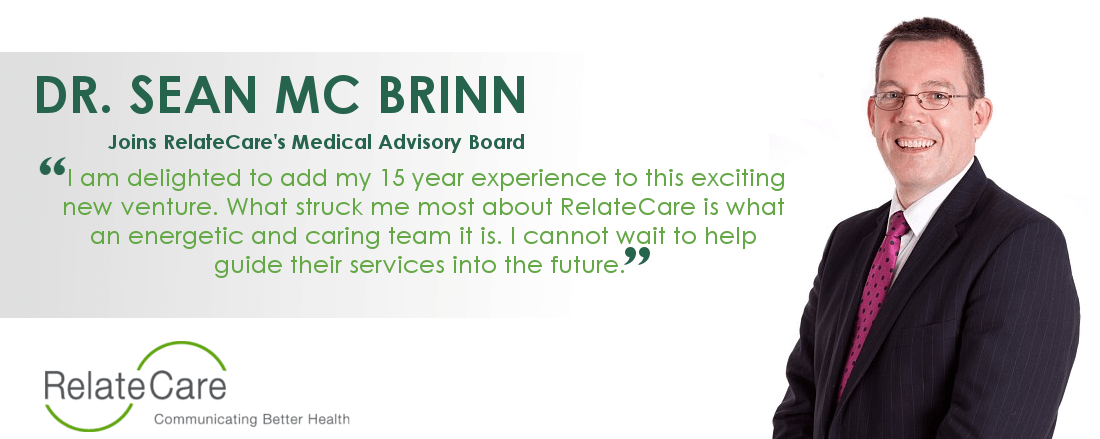 Sean McBrinn announced as RelateCare medical advisor.